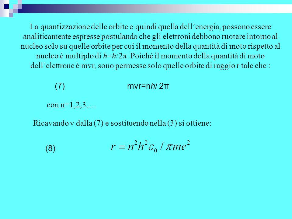 Ricavando v dalla (7) e sostituendo nella (3) si ottiene:
