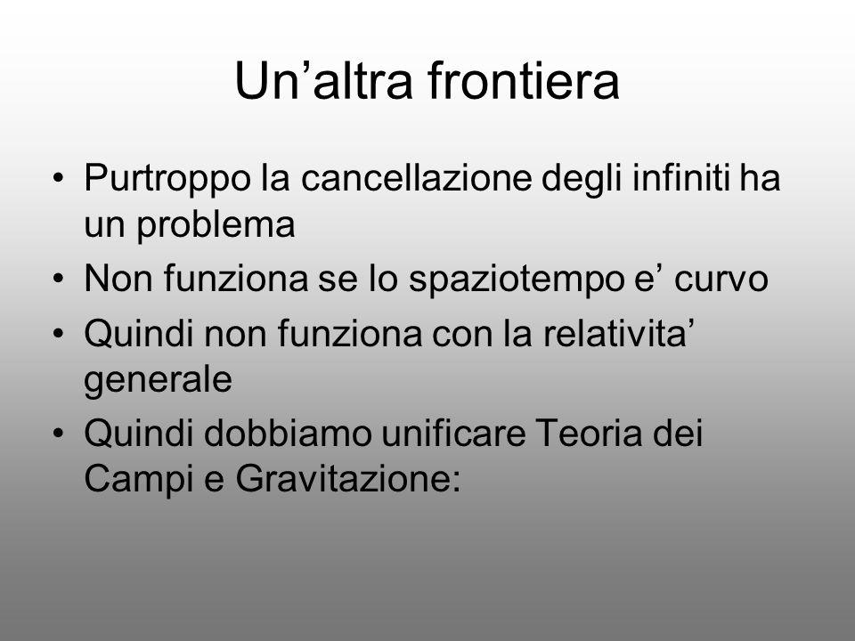 Un'altra frontieraPurtroppo la cancellazione degli infiniti ha un problema. Non funziona se lo spaziotempo e' curvo.