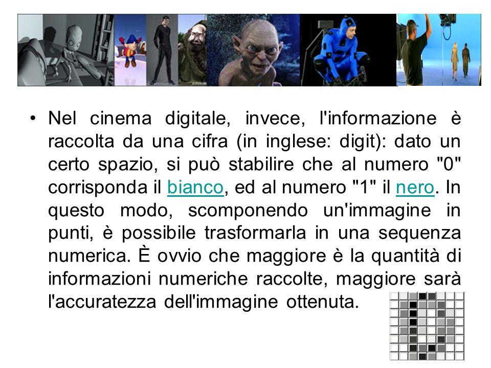 Nel cinema digitale, invece, l informazione è raccolta da una cifra (in inglese: digit): dato un certo spazio, si può stabilire che al numero 0 corrisponda il bianco, ed al numero 1 il nero.
