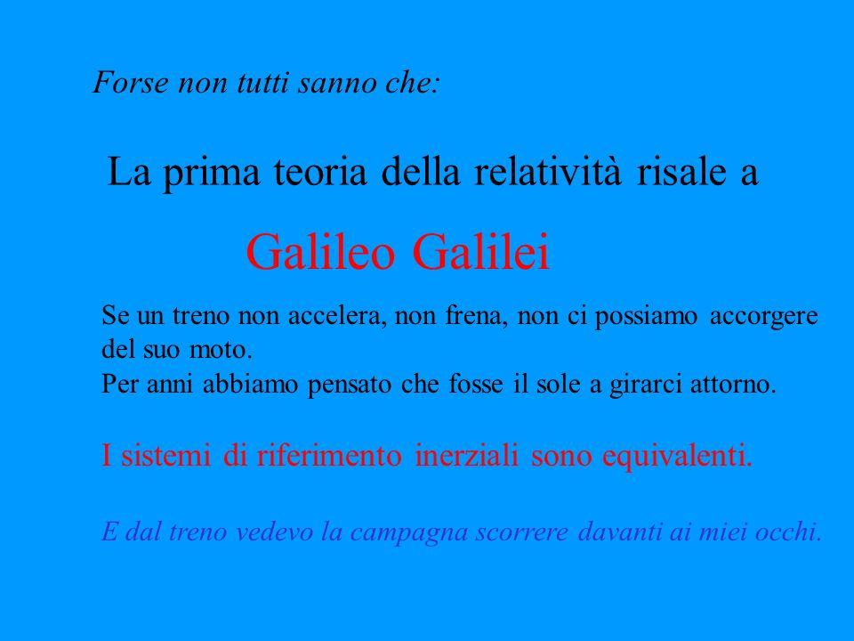 Galileo Galilei La prima teoria della relatività risale a