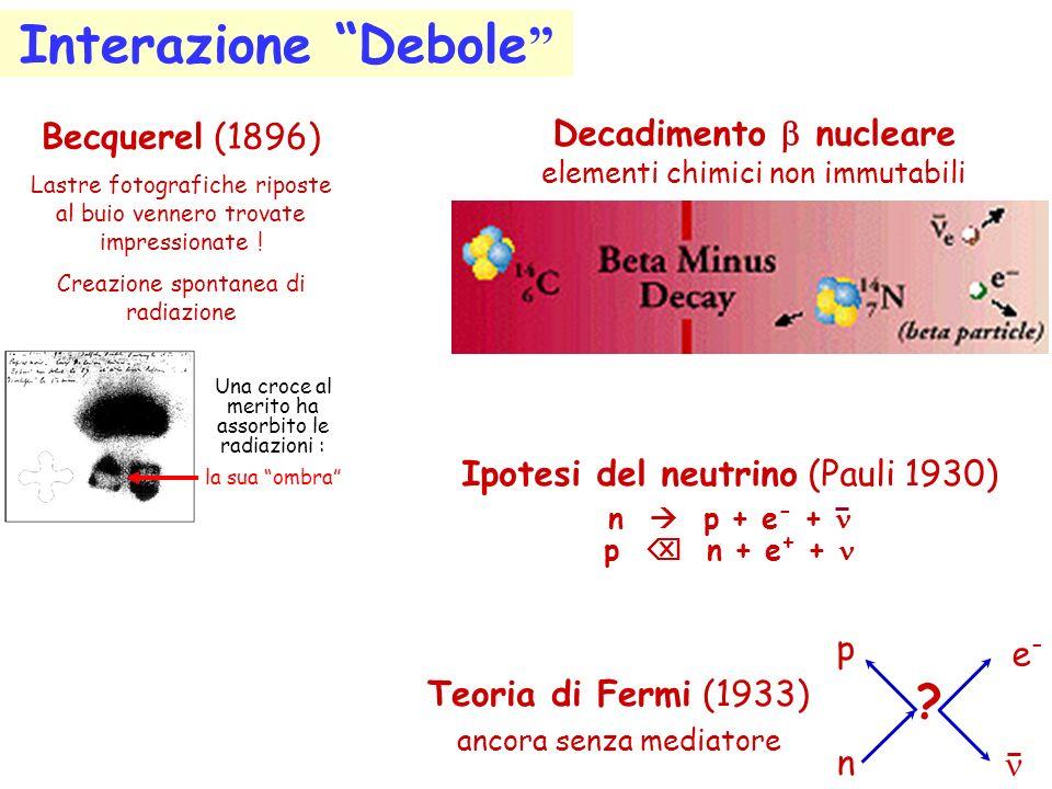 Interazione Debole Becquerel (1896) Decadimento b nucleare