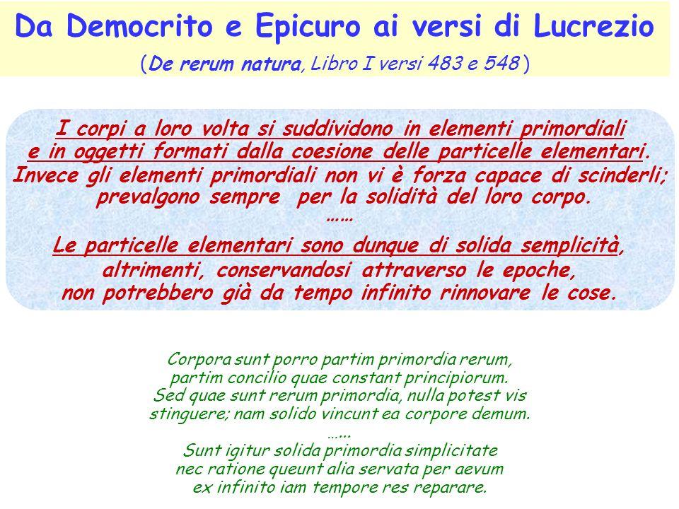 Da Democrito e Epicuro ai versi di Lucrezio (De rerum natura, Libro I versi 483 e 548 )