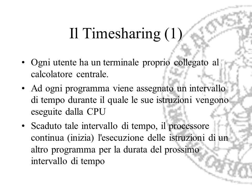 Il Timesharing (1) Ogni utente ha un terminale proprio collegato al calcolatore centrale.