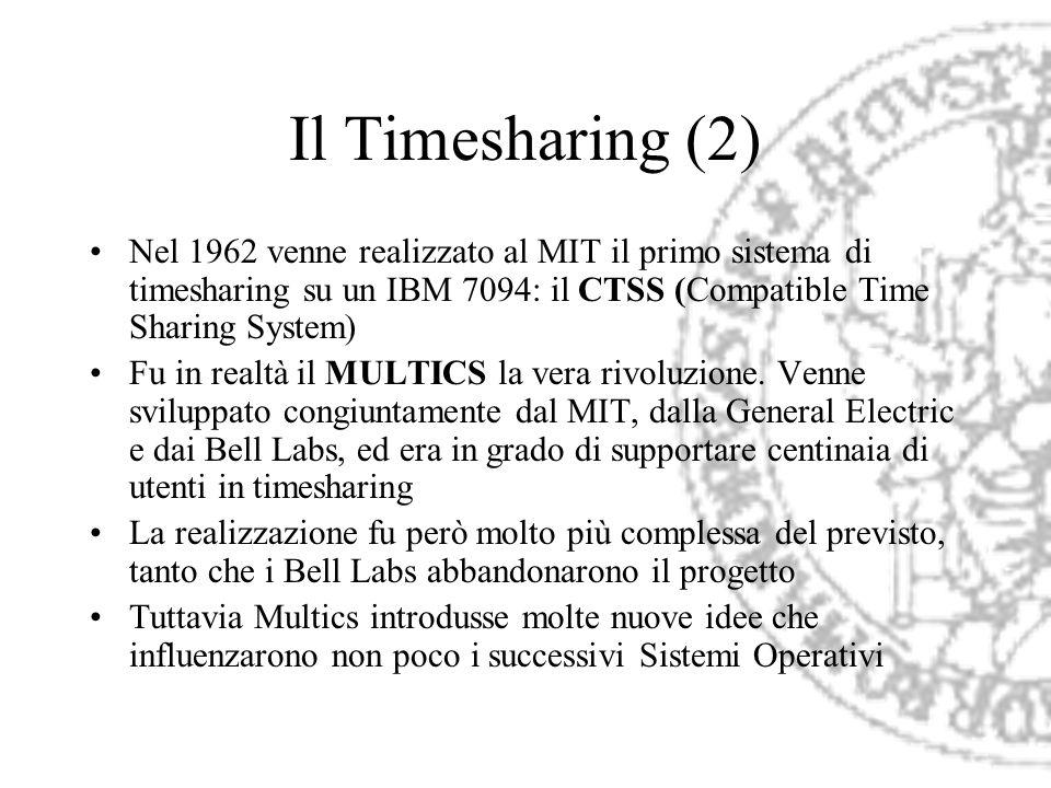 Il Timesharing (2) Nel 1962 venne realizzato al MIT il primo sistema di timesharing su un IBM 7094: il CTSS (Compatible Time Sharing System)