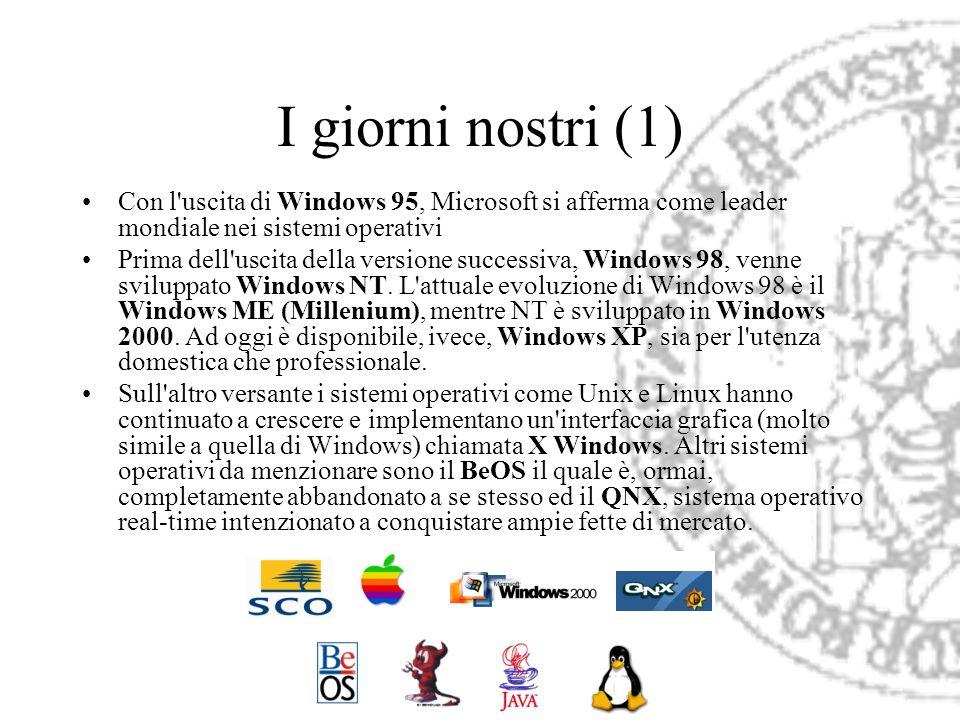 I giorni nostri (1)Con l uscita di Windows 95, Microsoft si afferma come leader mondiale nei sistemi operativi.