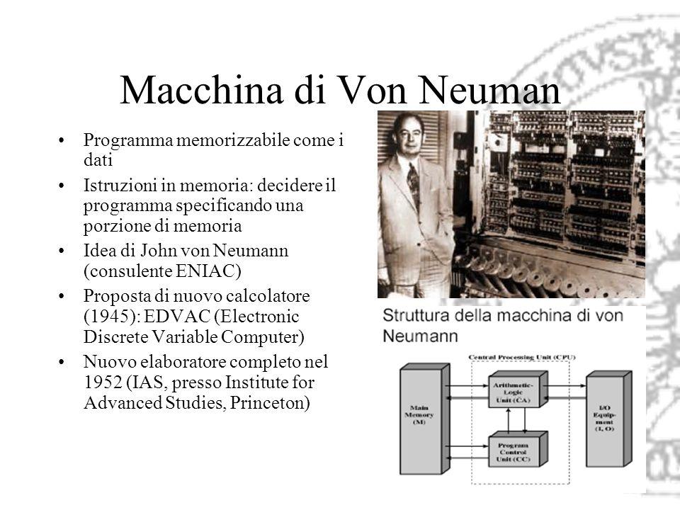 Macchina di Von Neuman Programma memorizzabile come i dati