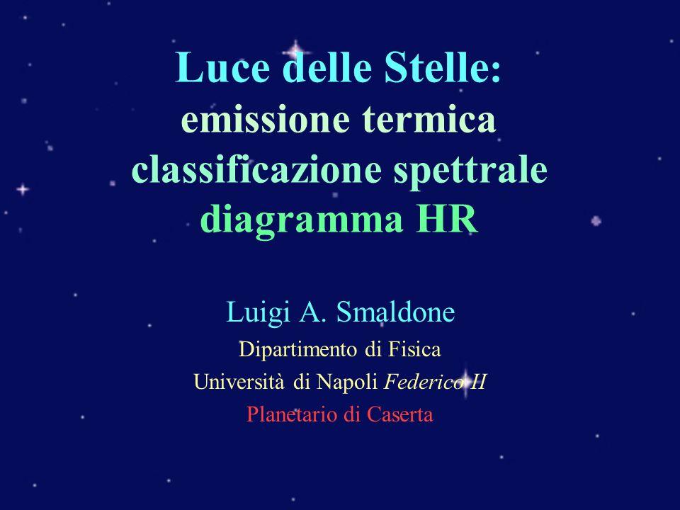 Luce delle Stelle: emissione termica classificazione spettrale diagramma HR