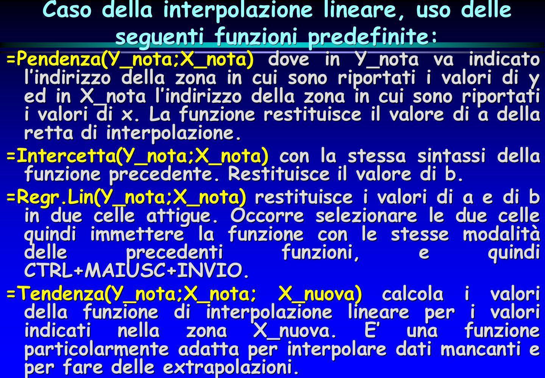 Caso della interpolazione lineare, uso delle seguenti funzioni predefinite: