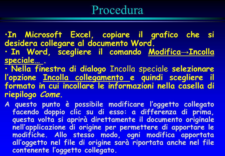Procedura In Microsoft Excel, copiare il grafico che si desidera collegare al documento Word.