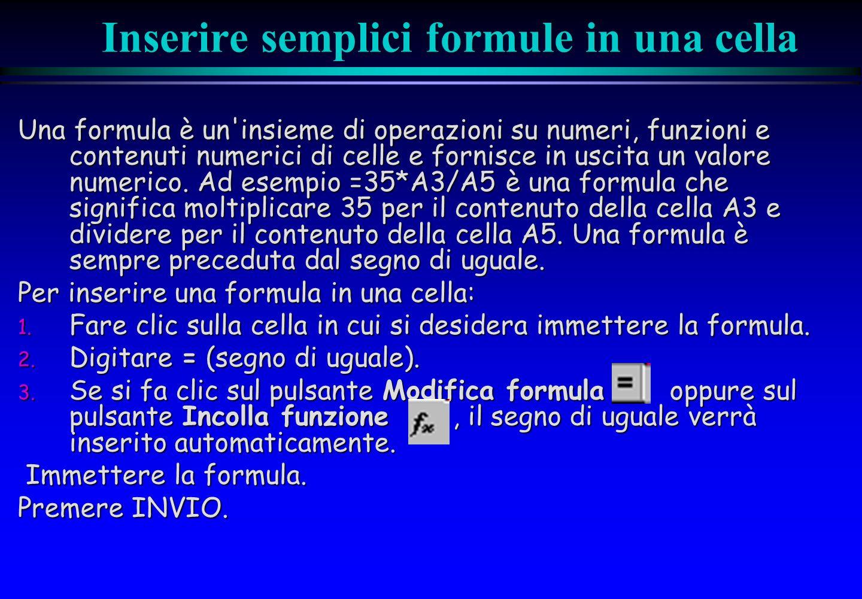 Inserire semplici formule in una cella