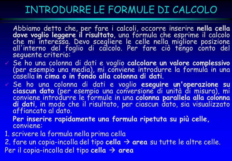 INTRODURRE LE FORMULE DI CALCOLO