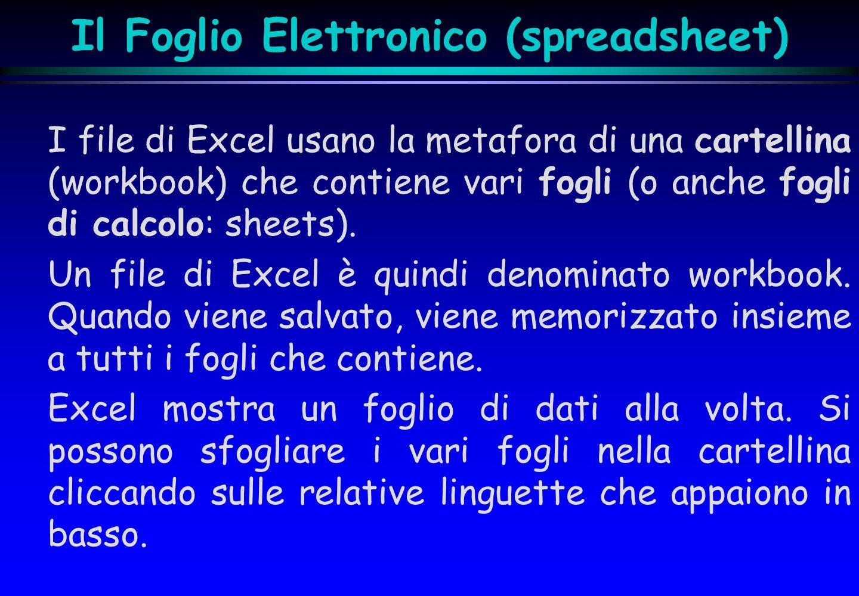 Il Foglio Elettronico (spreadsheet)