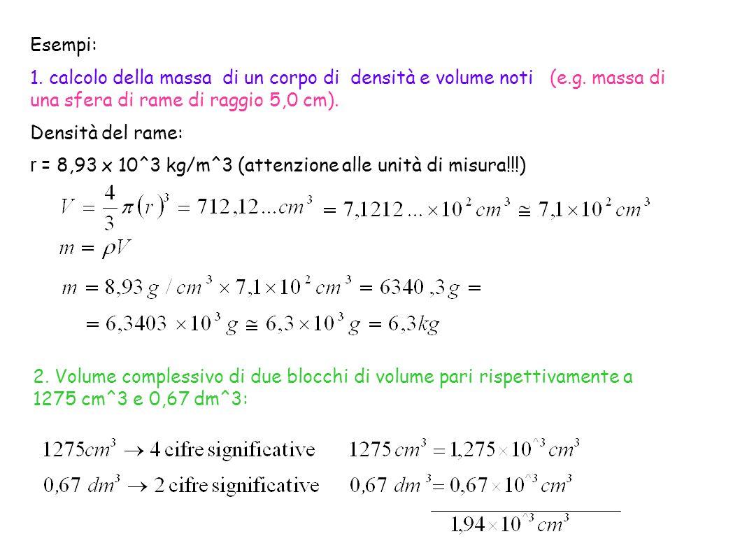 Esempi: 1. calcolo della massa di un corpo di densità e volume noti (e.g. massa di una sfera di rame di raggio 5,0 cm).