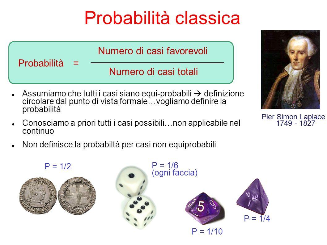 Probabilità classica Numero di casi favorevoli Probabilità =