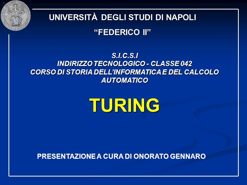 TURING UNIVERSITÀ DEGLI STUDI DI NAPOLI FEDERICO II S.I.C.S.I