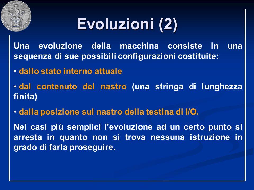 Evoluzioni (2) Una evoluzione della macchina consiste in una sequenza di sue possibili configurazioni costituite: