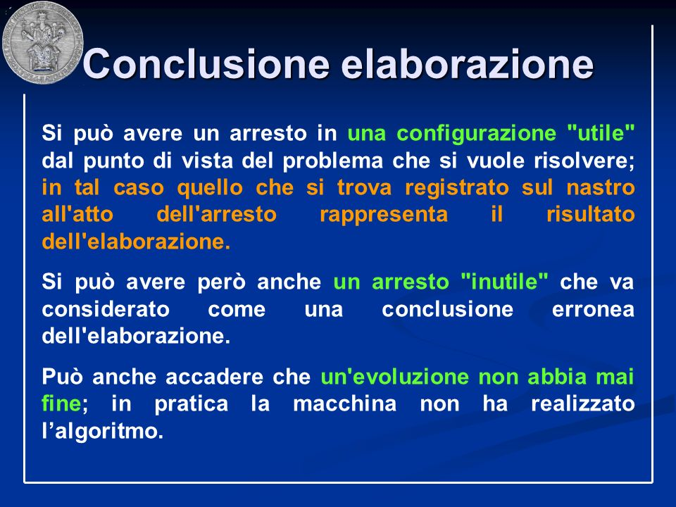 Conclusione elaborazione