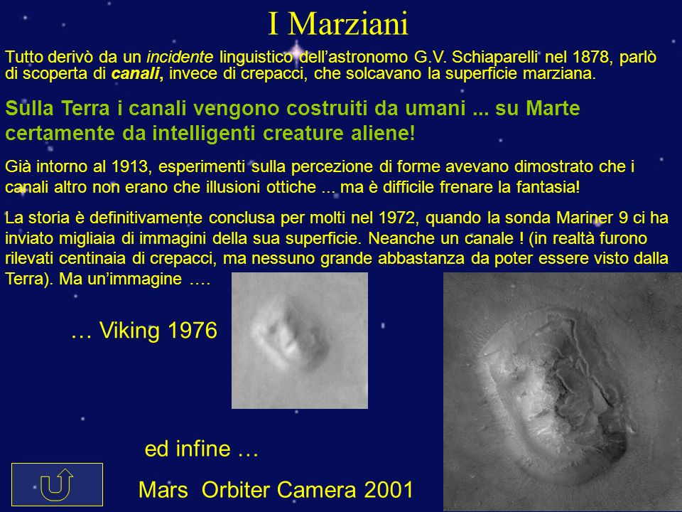 I Marziani … Viking 1976 ed infine … Mars Orbiter Camera 2001