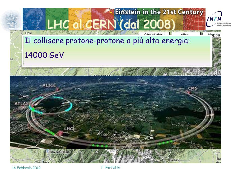 LHC al CERN (dal 2008) Il collisore protone-protone a più alta energia: 14000 GeV. 10 Febbraio 2010.