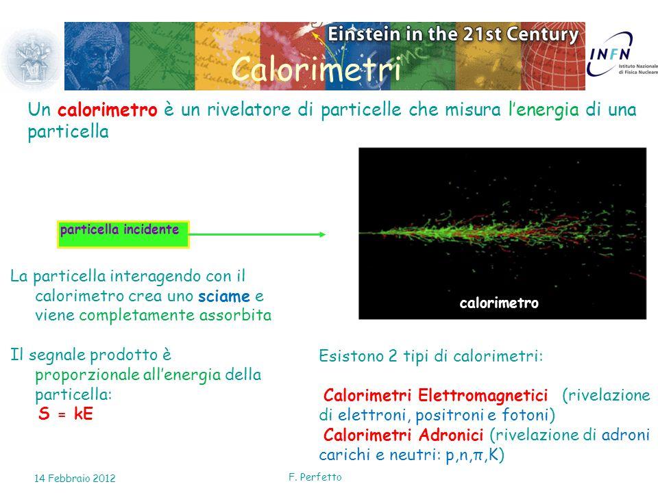 Calorimetri Un calorimetro è un rivelatore di particelle che misura l'energia di una particella. calorimetro.