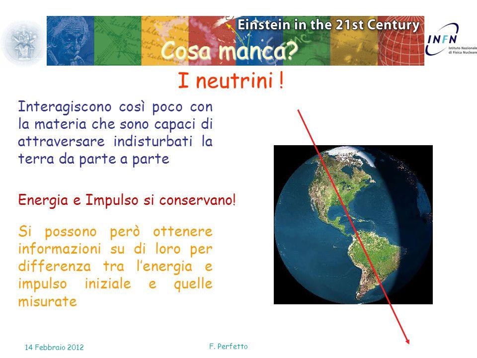 Cosa manca I neutrini ! Interagiscono così poco con la materia che sono capaci di attraversare indisturbati la terra da parte a parte.