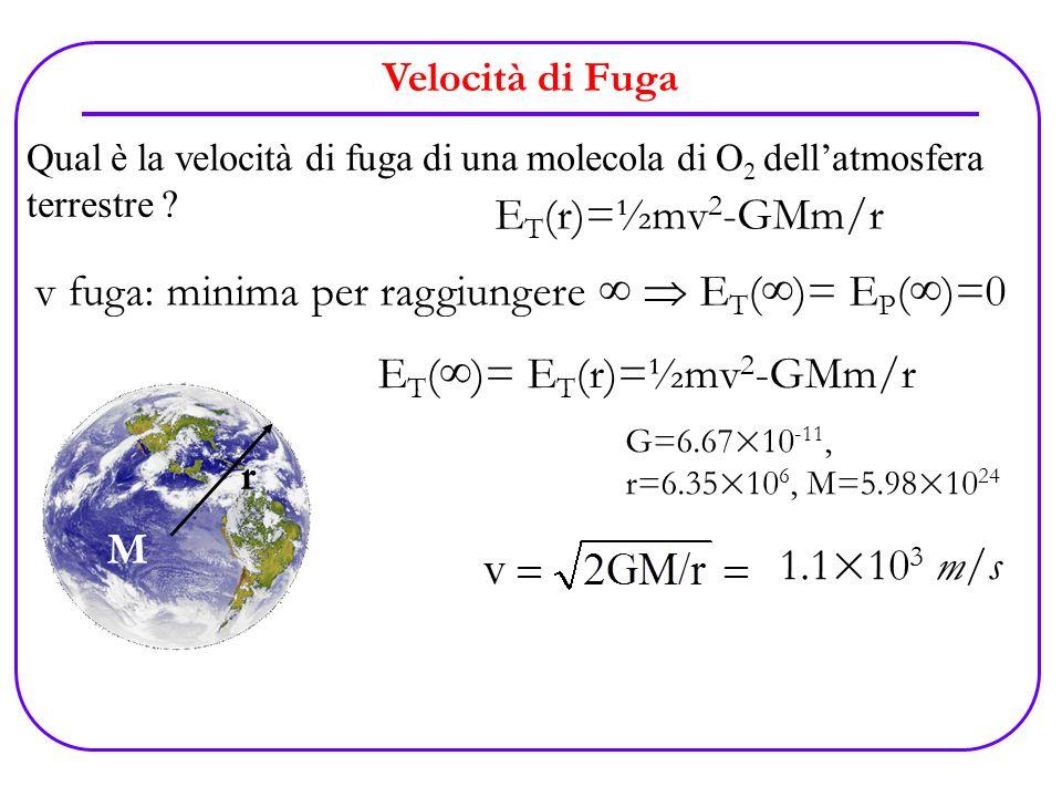 v fuga: minima per raggiungere ∞  ET(∞)= EP(∞)=0