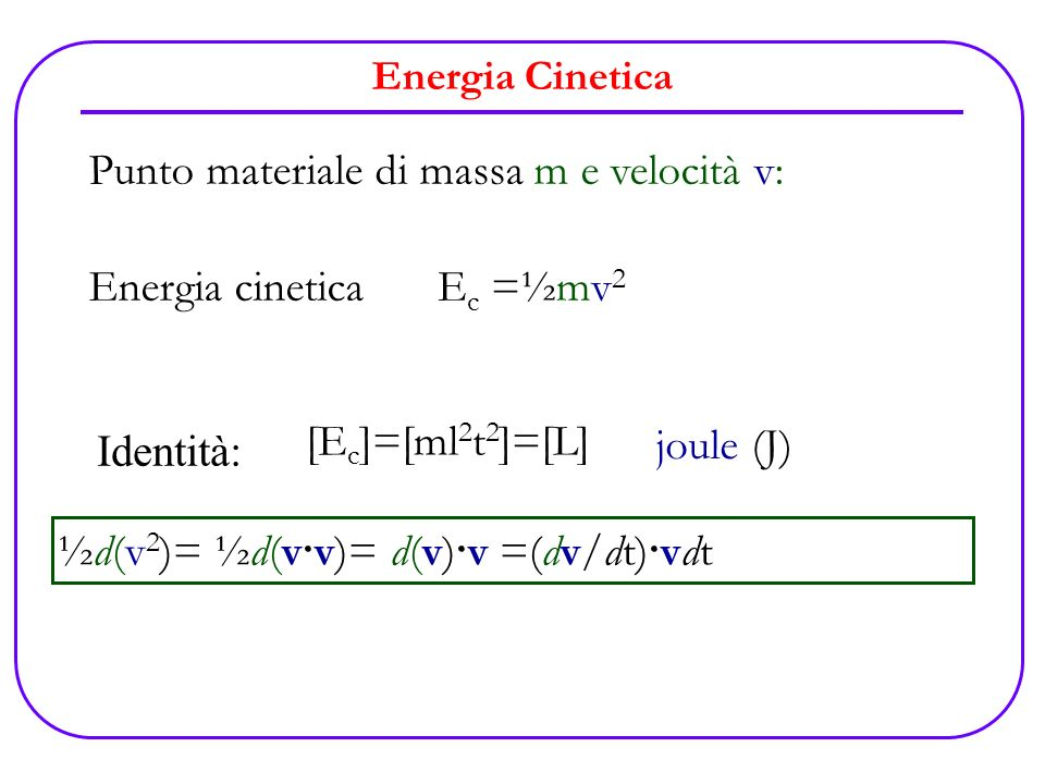 Punto materiale di massa m e velocità v: