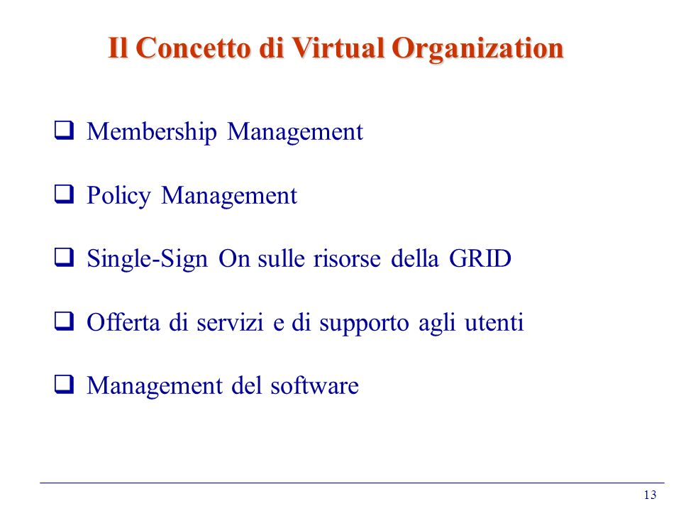 Il Concetto di Virtual Organization