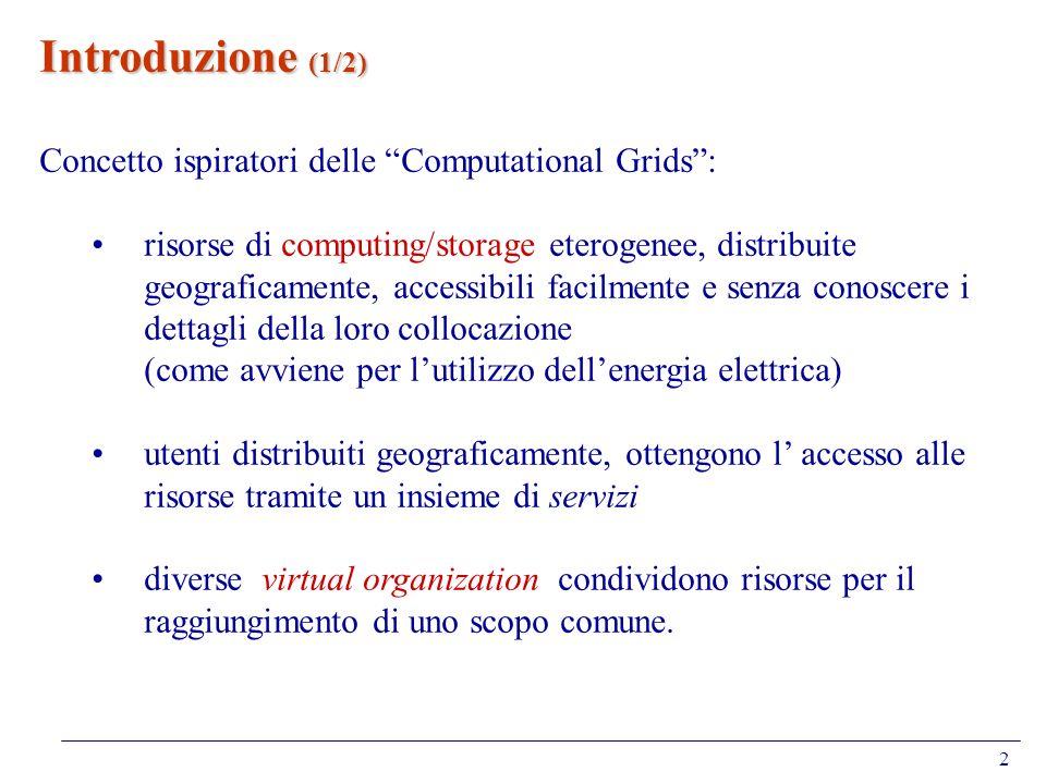 Introduzione (1/2) Concetto ispiratori delle Computational Grids :