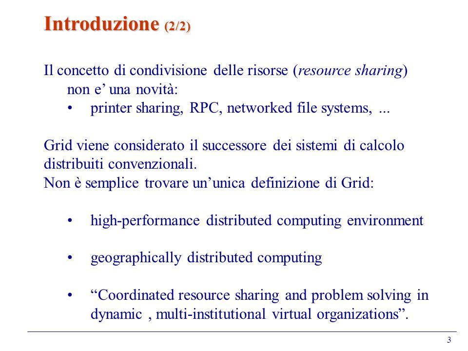Introduzione (2/2) Il concetto di condivisione delle risorse (resource sharing) non e' una novità: