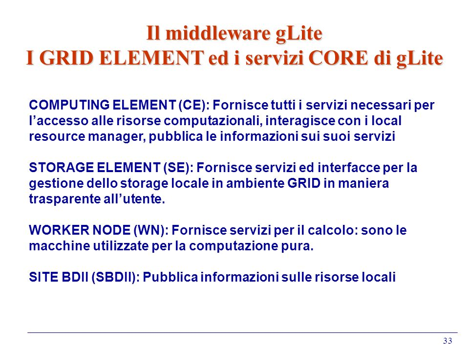 I GRID ELEMENT ed i servizi CORE di gLite