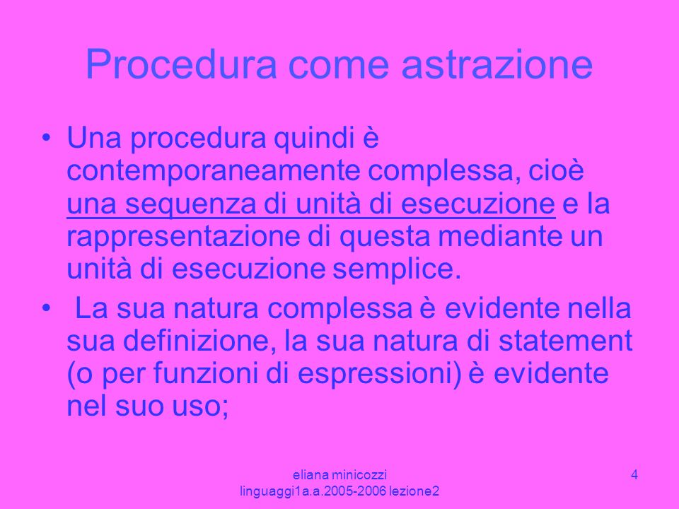 Procedura come astrazione