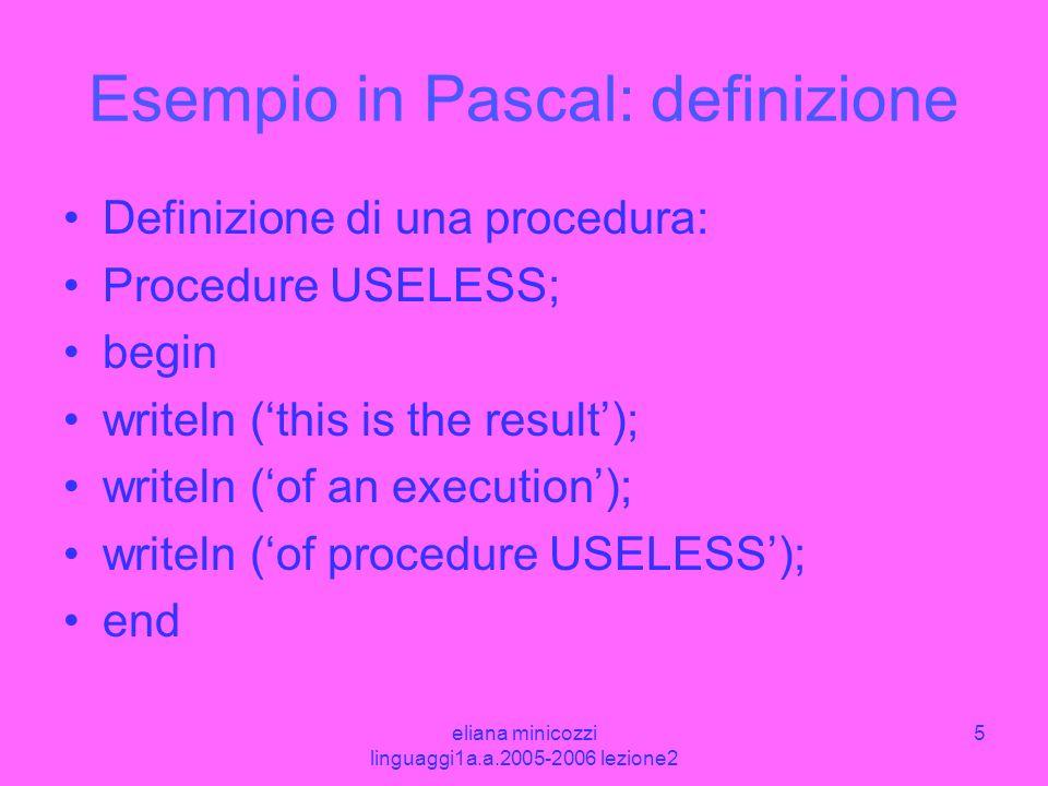 Esempio in Pascal: definizione