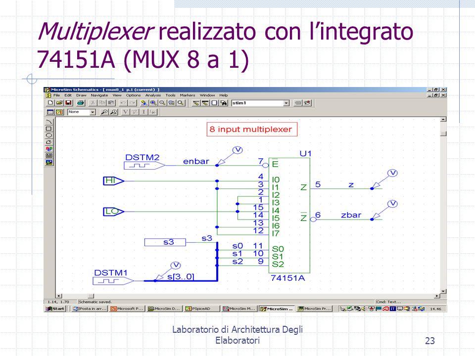 Multiplexer realizzato con l'integrato 74151A (MUX 8 a 1)