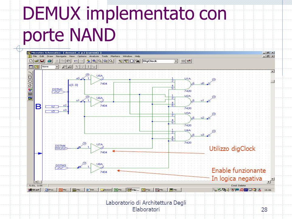 DEMUX implementato con porte NAND