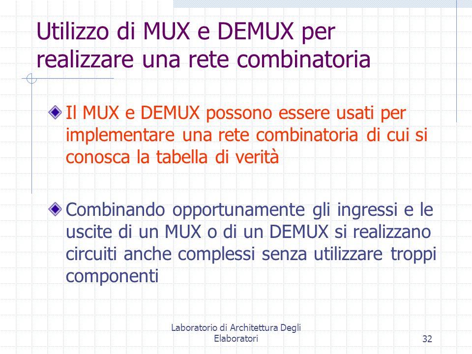 Utilizzo di MUX e DEMUX per realizzare una rete combinatoria