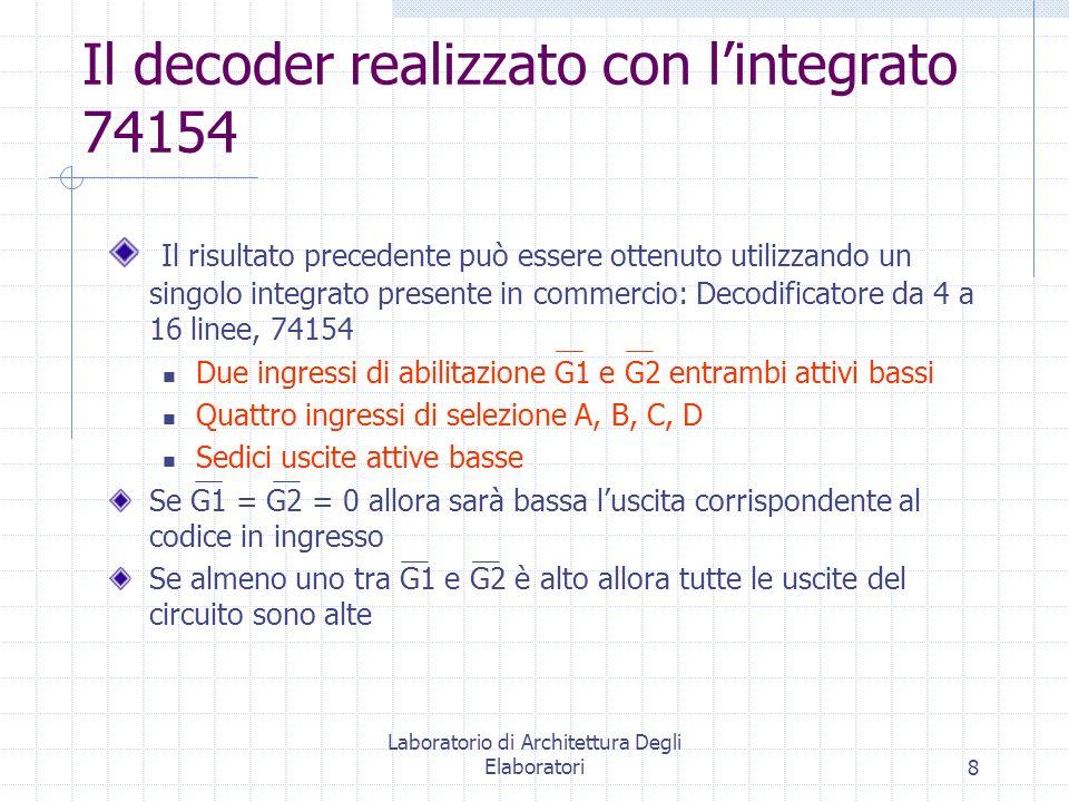 Il decoder realizzato con l'integrato 74154