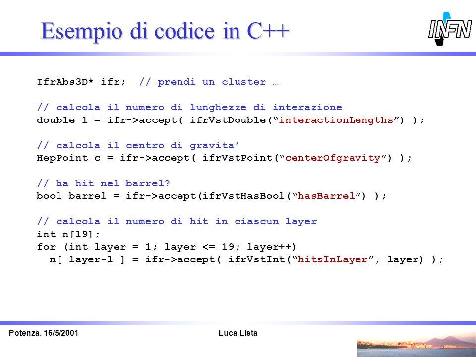 Esempio di codice in C++