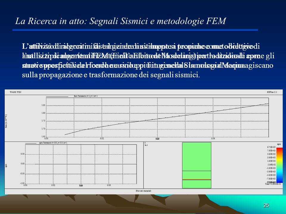 La Ricerca in atto: Segnali Sismici e metodologie FEM