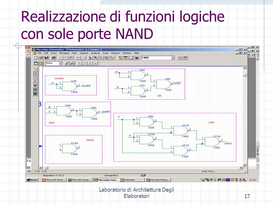 Realizzazione di funzioni logiche con sole porte NAND