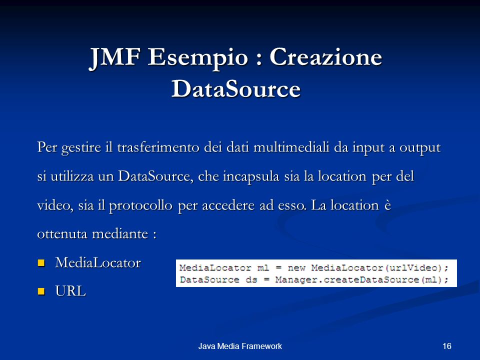 JMF Esempio : Creazione DataSource