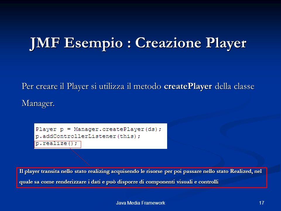 JMF Esempio : Creazione Player