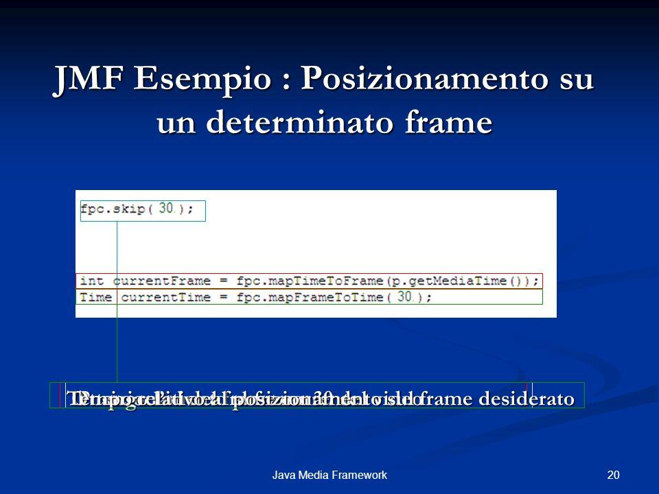 JMF Esempio : Posizionamento su un determinato frame