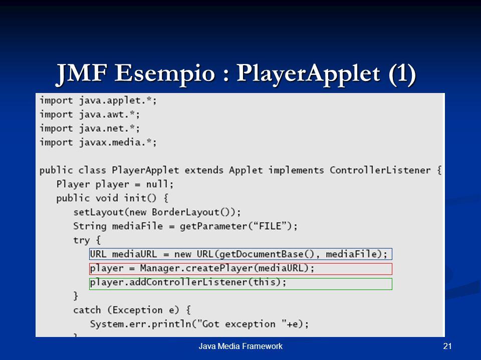 JMF Esempio : PlayerApplet (1)