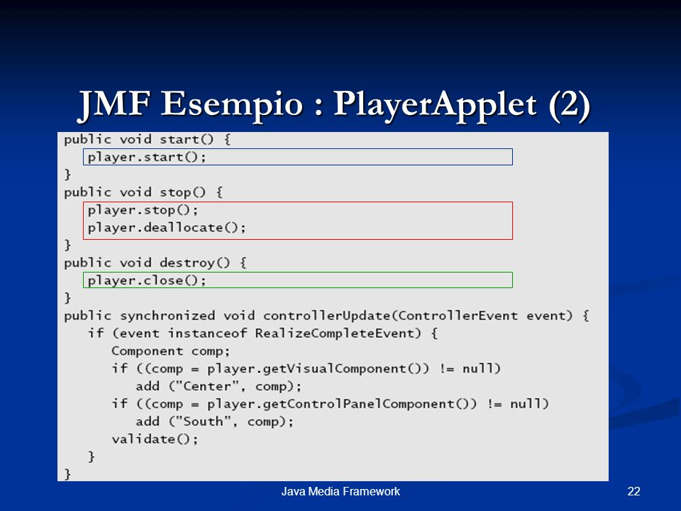 JMF Esempio : PlayerApplet (2)