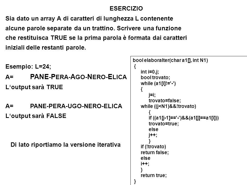 Sia dato un array A di caratteri di lunghezza L contenente