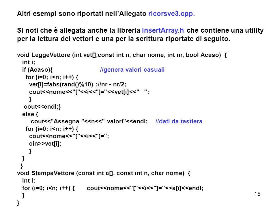 Altri esempi sono riportati nell'Allegato ricorsve3.cpp.