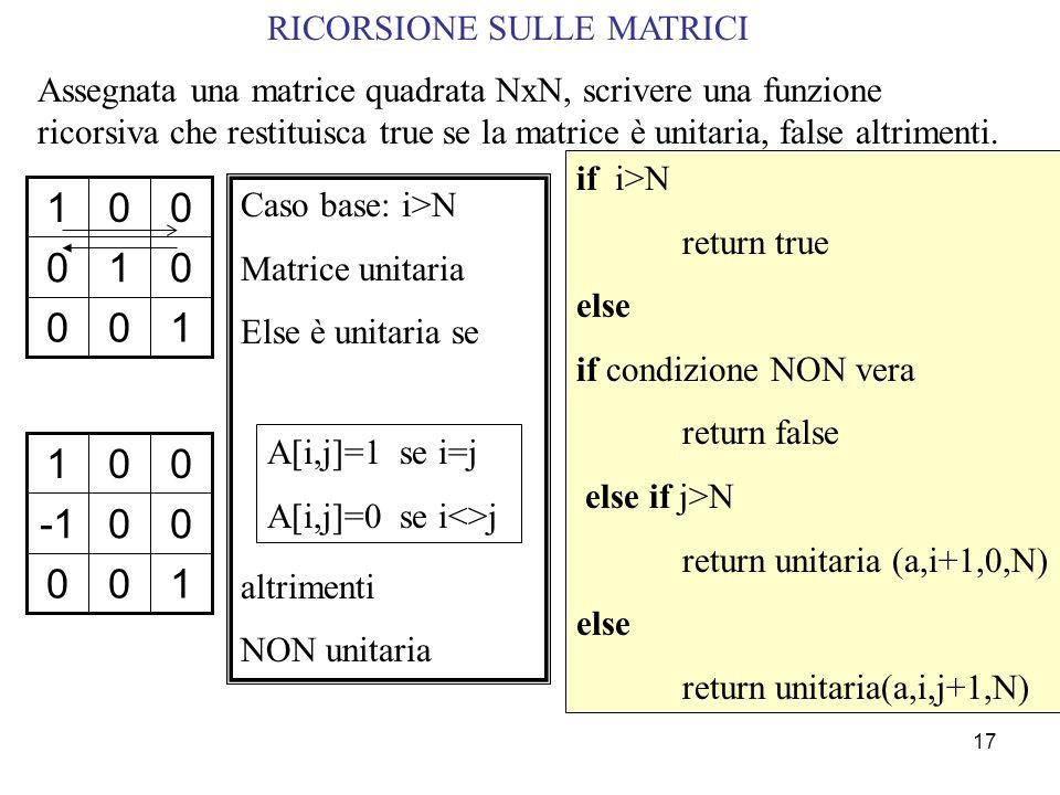 1 -1 1 RICORSIONE SULLE MATRICI