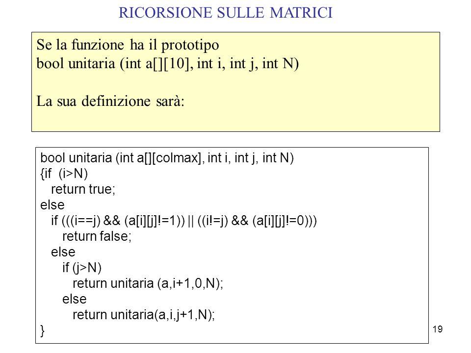 RICORSIONE SULLE MATRICI
