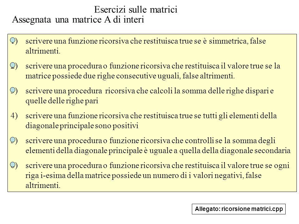 Esercizi sulle matrici Assegnata una matrice A di interi